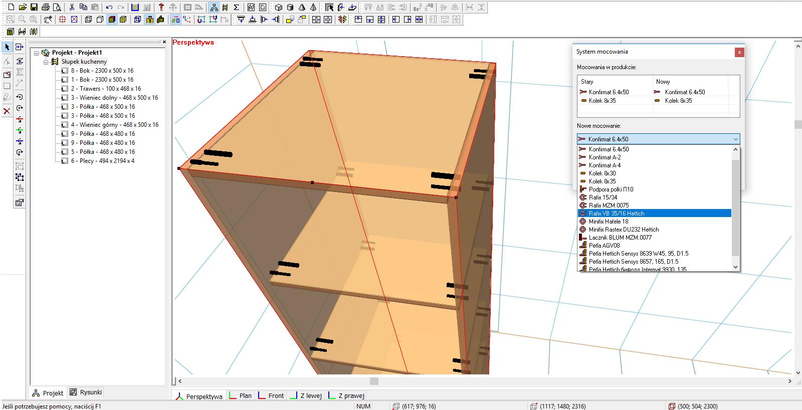 Interfejs w programie meblarz 3D